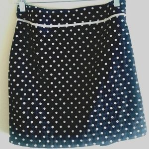 Max Studio Polka Dot Mini Skirt Black White Cotton